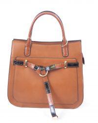 Brown Croc Belted Handbag