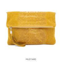 Mustard Foldover Croc Print Suede Leather Clutch