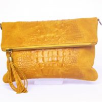 Light Tan/Mustard Foldover Croc Print Suede Leather Clutch