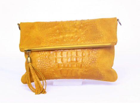 Light Tan/Mustard Foldover Croc Print Suede Leather Clutch