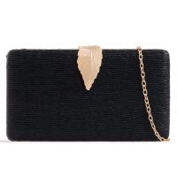 Black Leaf Clutch Bag