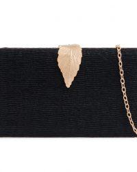 Black Leaf Clutch Bag
