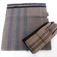 Brown Tartan Scarf Set