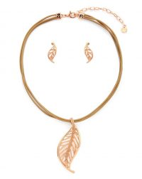 Rose Gold Leaf Necklace Set