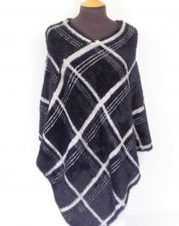 Black Check Fluffy Poncho
