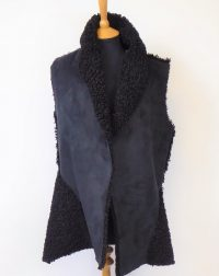 Black Suedette Fleece Gillet