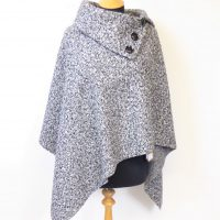 Black and White Collar Poncho