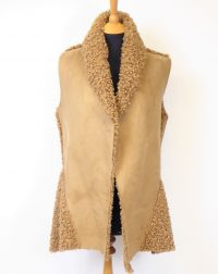 Fawn Suedette Fleecy Gillet