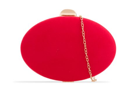 Red Oval Suedette Clutch