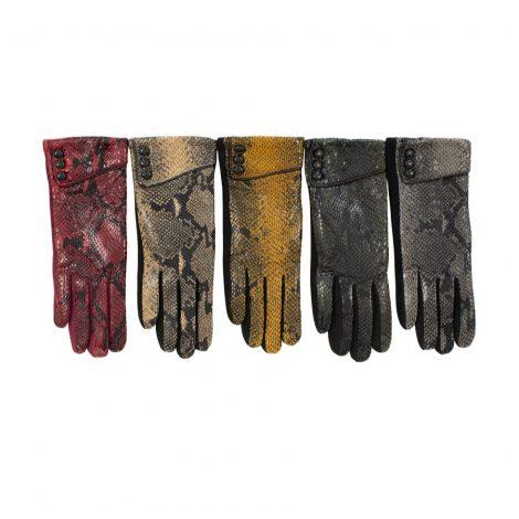 Snakeskin Print Gloves