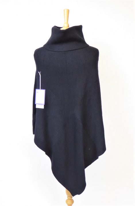 Black Knitted Polo Poncho