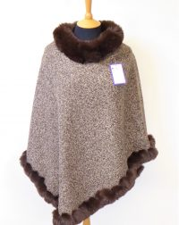 Brown Fur Speckled Poncho