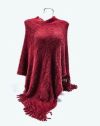 Dark Red Fluffy Poncho