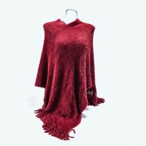 Dark Red Fluffy Poncho