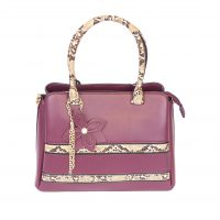 Dark Red Snakeskin Handbag