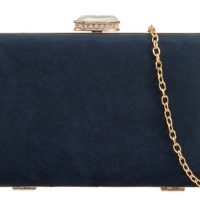 Navy Suedette Box Clutchbag