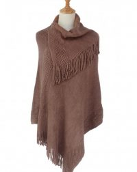 Plain Layered Tassels Poncho