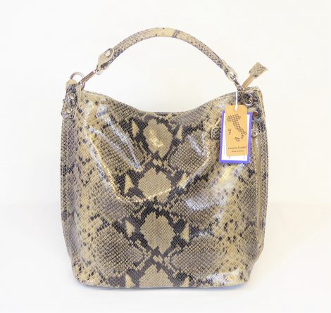 Taupe Snakeskin Leather Bag