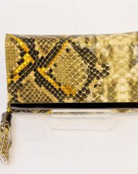 Yellow Snakeskin Tassel Purse