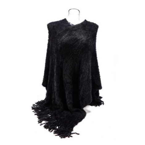 Black Fluffy Supersoft Poncho
