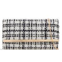 White and Black Check Clutch
