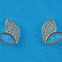925 Silver Blue Opal Stud Earrings