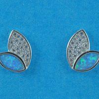 925 Silver Blue Opal Stud Earrings