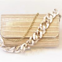Beige Mock Crock Clutch Bag