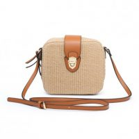 Beige Square Weaved Shoulder Bag