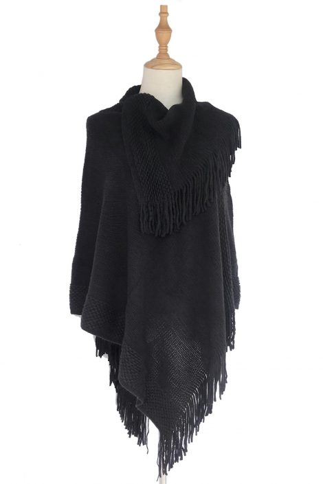 Black Plain Layered Poncho