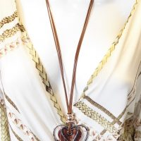 Brown Corded Multi Heart Long Necklace