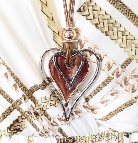 Brown Corded Multi Heart Long Necklace Close Up