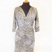 Brown Gold Foil Animal Print Dress