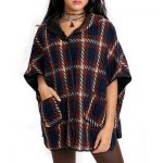 Brown Mixed Hooded Poncho Wrap