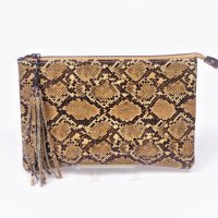 Brown Snakeskin Clutch Bag