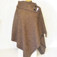 Brown and Black Collar Poncho