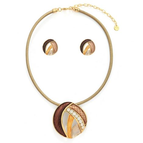 Coffee Corded Necklace Set