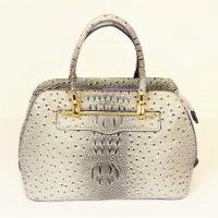 Grey Ostrich Mock Crock Handbag