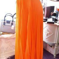 Orange Pleated Long Skirt