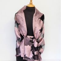 Pink and Black Roses Shawl