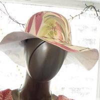 Pink and Green Floral Wide Brim Hat