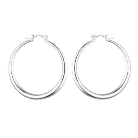 Round Hoop Silver Earrings