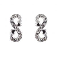 Silver Cz Infinity Stud Earrings