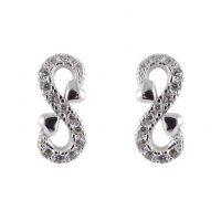 Silver Cz Infinity Stud Earrings
