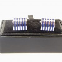 Silver and Blue Strip Cuff Links