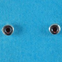 925 Garnet CZ Stud Earrings