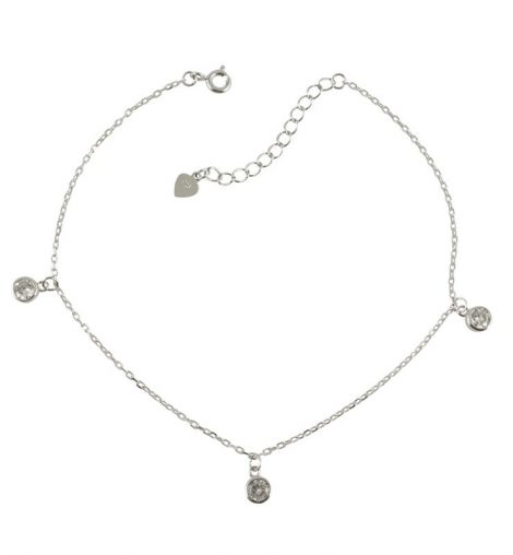 925 Silver CZ Anklet