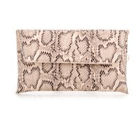 Beige Snakeskin Clutch Bag