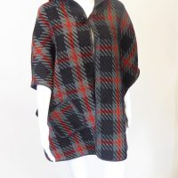 Black Check Hooded Poncho Wrap