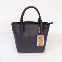 Black Grained Leather Handbag